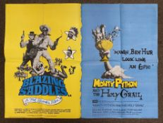 Blazing Saddles and Monty Python And The Holy Grail double-bill British Quad film poster, folded.