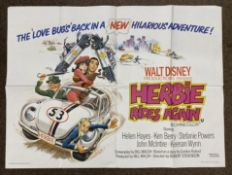 Walt Disney Productions presents Herbie Rides Again British Quad film poster, folded.