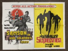 Samson In King Solomon's Mines and Supermen double-bill British Quad film poster, folded.