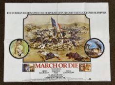March Or Die British Quad film poster, folded.
