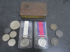 A Queen Mary Christmas tin, reproduction pair of Napoleonic medals, coins etc.