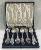 A cased set of hallmarked large silver spoons and forks (London 1866). total silver weight 1241g