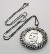 A Victorian 1889 Crown in pendant mount and silver chain. Total weight 44.9g
