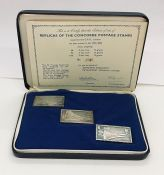 A set of three fine silver Concorde postage stamp replicas in box, no.170