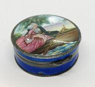 A silver and enamelled pill box with hand painted classical scene to lid- A/F