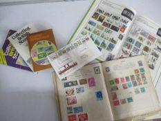 A collection of stamps etc