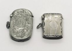 Two hallmarked silver vesta cases- 1 A/F