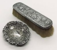 A hallmarked silver pin dish along with an SCM brush