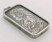 A 50g fine silver ingot in pendant mount. Weight 55.5g