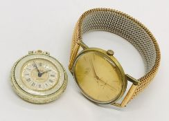 A gentleman's gold plated MuDu wristwatch along with a ladies fob watch