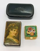 Two Victorian snuff boxes along with a micro mosaic box
