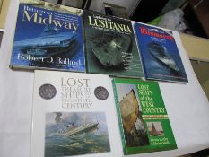 "Five hardbacks on exploring famous ships: ""Return to Midway"" by Ballard 1999 with dust jacket. """