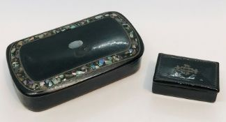 Two Victorian papermache snuff boxes
