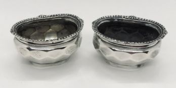 A pair of hallmarked silver salts- no liners