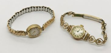 Two 9 ct gold ladies Rotary cocktail watches- 1 missing winder