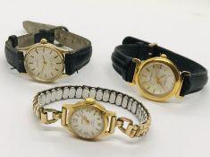 Three ladies wristwatches, Sekonda, Ancre etc.