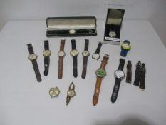 A collection of various watches including Avia Olympic, Lorus, Timberland, Roamer, Timex, Pulsar