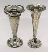 Two hallmarked silver trumpet vases