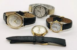 Four various watches including Pulsar, Citizen, Luxor and Tissot