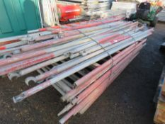 Double width aluminium scaffold tower, red painted