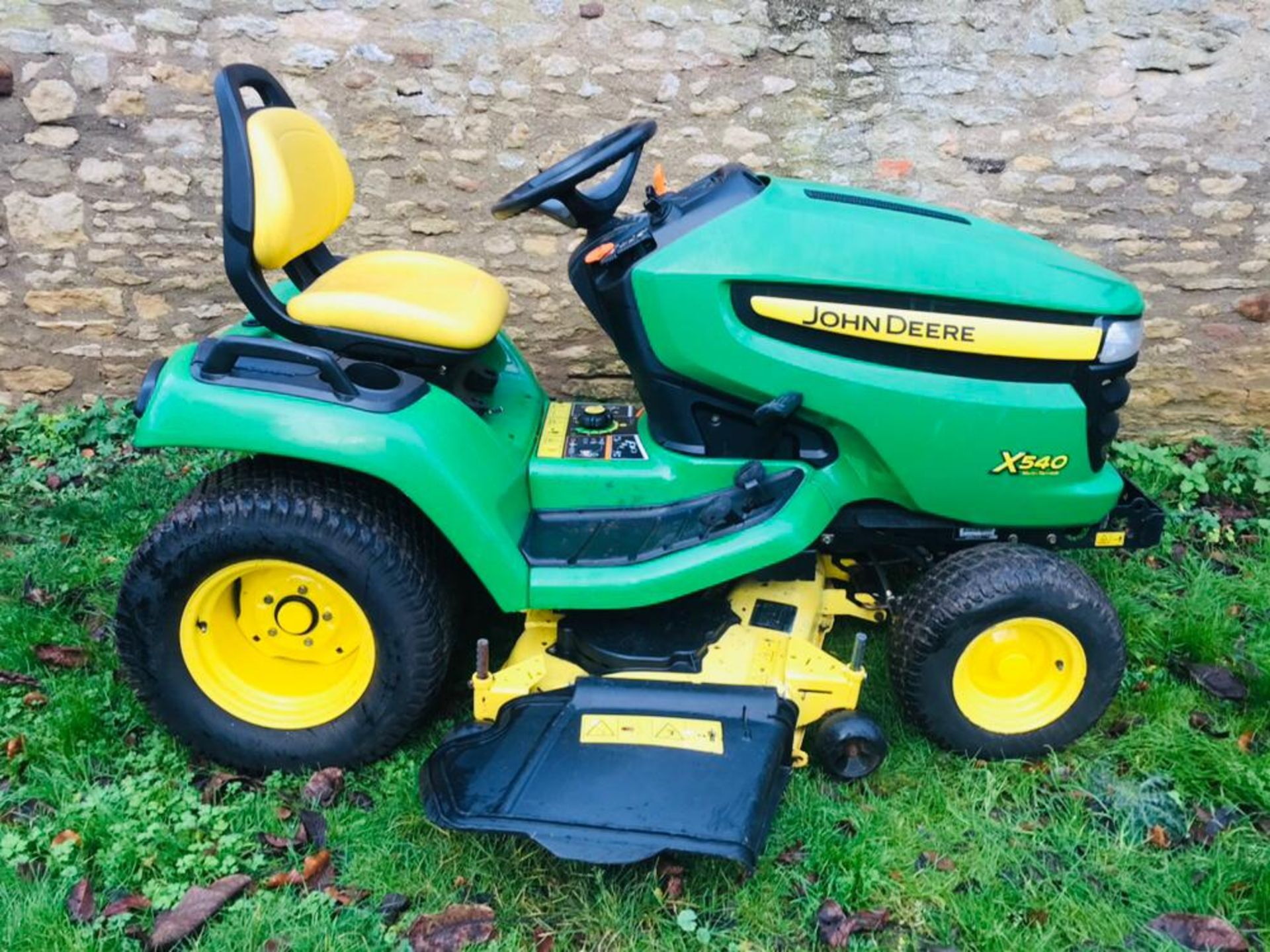 "Lot 91 - JOHN DEERE X540 MULTI TERRAIN RIDE ON MOWER, YEAR 2009, 54"" SIDE DISCHARGE DECK. WHEN TESTED WAS"