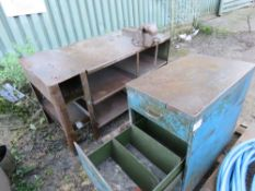 METAL WORKBENCH C/W VICE PLUS CABINET AND 5 X CAST IRON DRAIN COVERS This item is being item sold
