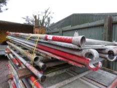 DOUBLE WIDTH ALUMINIUM SCAFFOLD TOWER, 7.2METRES APPROX... 6 X FULL UPRIGHTS PLUS 2 X 1.5M