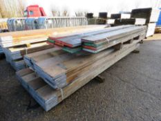 40 X GRADED PRE USED SCAFFOLD BOARDS, 13FT LENGTH APPROX PLUS A PALLET OF ASSORTED LENGTH BOARDS