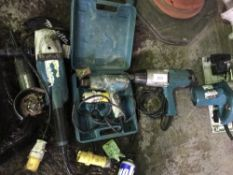 2 X ANGLE GRINDERS, HEAT GUN, 110VOLT NUT RUNNER AND CIRCULAR SAW ....CONDITION UNKNOWN