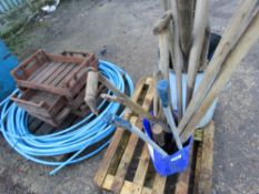 CHITTING TRAYS, WATER PIPE, HAND TOOLS AND BEAD BREAKER ETC...ON 2 PALLETS This item is being item