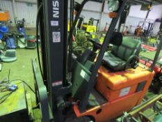 Nissan triple mast high lift battery forklift WHEN TESTED WAS SEEN TO DRIVE, STEER, LIFT This item
