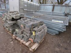 LARGE QUANTITY OF HERAS TYPE MESH SITE FENCING, APPROXIMATELY 70 X PANELS PLUS 2 X PALLETS OF FEET