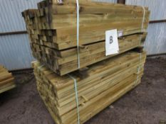 2 LARGE PACKS OF TIMBER POSTS APPROX. 372 1.8MX5.5CM