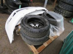 PALLET OF VEHICLE SPARES INCLUDING TYRES, ETC.