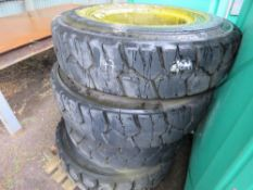 4X INDUSTRIAL SOLID WHEELS AND TYRES