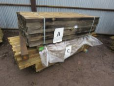 2 PACKS OF ASSORTED TIMBER FENCING POSTS APPROX. 140 TOTAL, ONE PACK 1.8MX5.5CMX7CM ONE PACK 2.4M