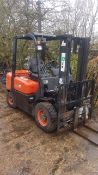 SCD 25 2.5TONNE DIESEL FORKLIFT TRUCK, 2.5TONNE LIFT, SIDE SHIFT, SHOWING 1250 REC HOURS. VENDORS