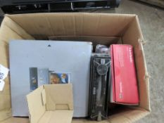Box of radios and 2no. speakers