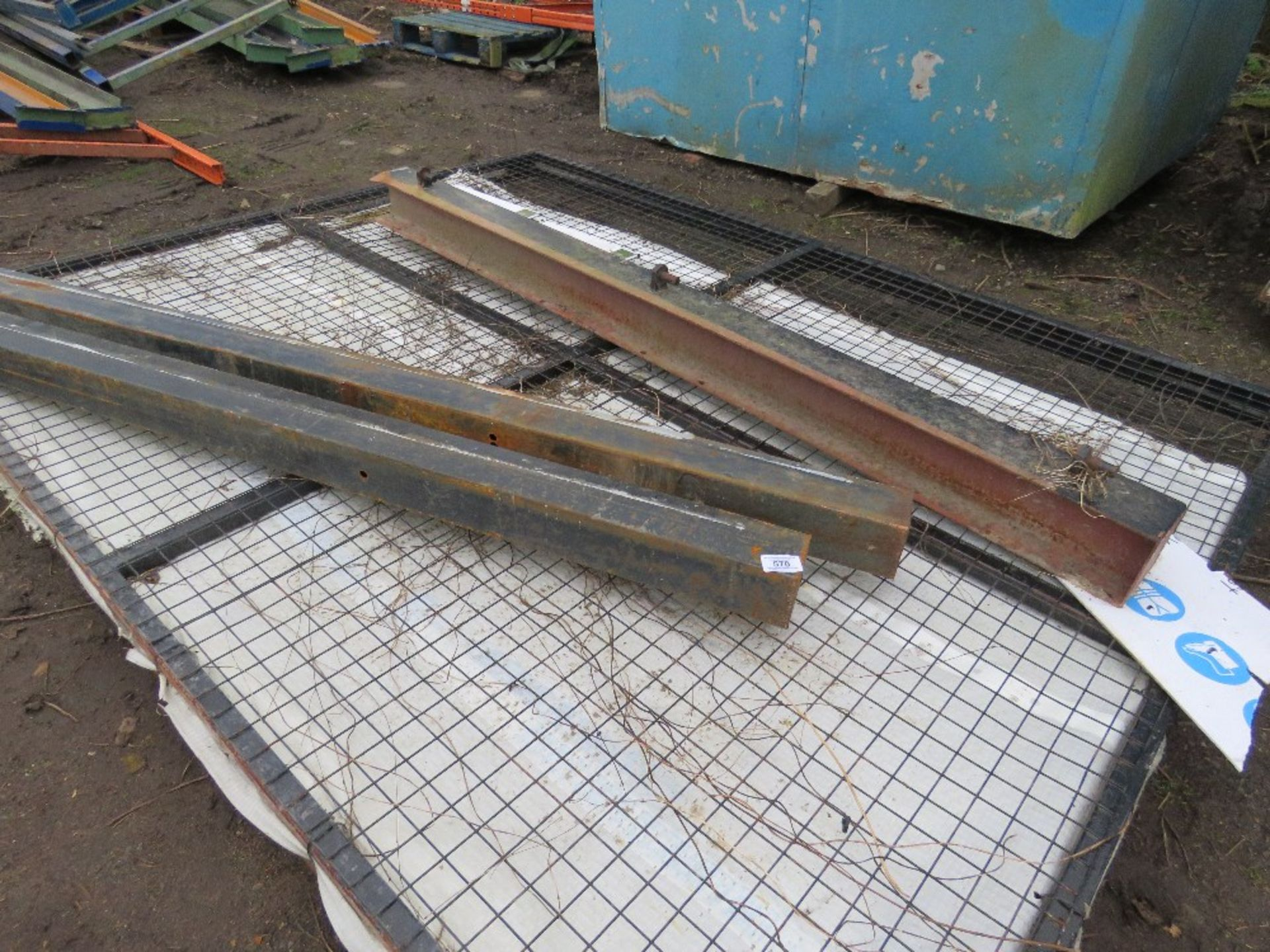 Lot 570 - Mesh covered hinged yard gate c/w posts for 6m opening approx. x 2.4m height