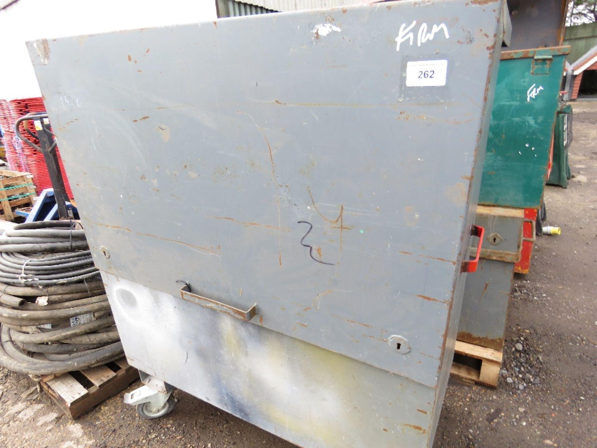 Lot 262 - Large wheeled tool safe, no keys