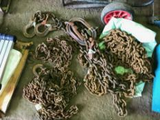 3no. Assorted lifting and recovery chains, untested