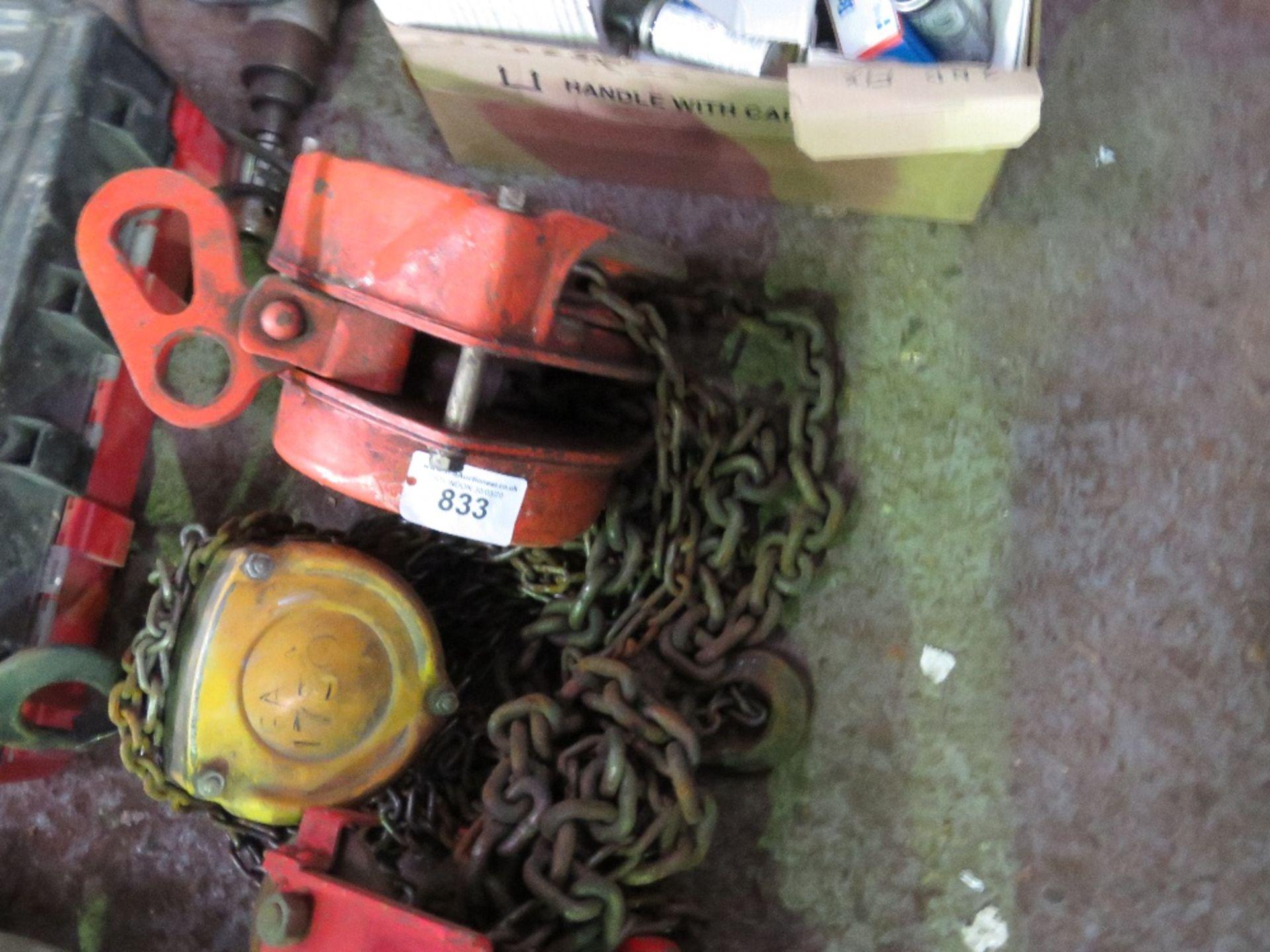 Lot 833 - 2no. Chain hoists plus beam runner