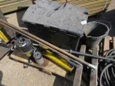 TOOL BOX WITH CONTENTS OF JACKING EQUIPMENT PLUS PORTAPOWER PACK, 2 X RAM CYLINDERS PLUS 2 X BROOMS