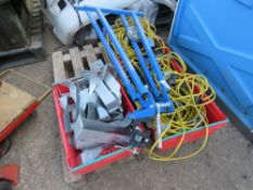 3no. Boxes of cables plus box of joist hangers PLUS pipe vice/bender