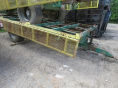 SINGLE AXLED AGRICULTURAL POTATO 6 BOX TRAILER ON SUPER SINGLE WHEELS, 17FT BODY APPROX, IDEAL FOR H
