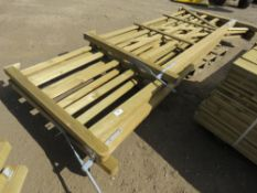 3 X WOODEN DRIVEWAY GATES, 2 @ 3.6M (LEFT HANDED), 1@2.7M (RIGHT HANDED)