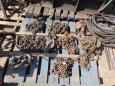PALLET CONTAINING 6X ASSORTED CHAINS PLUS 2 CHAIN BLOCKS sourced from company liquidation
