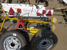 PALLET CONTAINING 2 X TRAILER WHEELS, 1 X AXLE STAND, WORK LIGHTS AND 4 X TRAILER LIGHT BOARDS