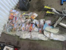 LARGE QUANTITY OF SAFETY EQUIPTMENT, UNTESTED AND UNUSED, INCLUDES LANYARDS, HARNESS AND ROPES