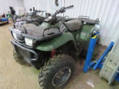 KAWASAKI KVF400 4WD AUTO QUAD BIKE, 2502 REC MILES. WHEN TESTED WAS SEEN TO START RUN AND DRIVE